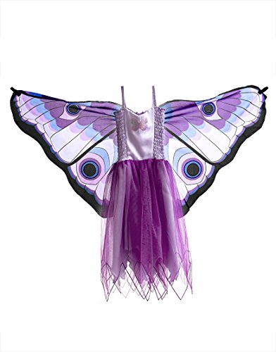 Dreamy Dress-Ups 50962 Dress, Fly-Away-Kleidchen, Purple Butterfly, Schmetterling violett, M 6-7 - Ups Kleinkind Kostüm