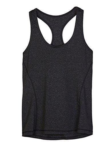 icyzone Débardeur et Tops de Sport Gilet Femme T-Shirt sans Manches Yoga Fitness Elastic Vest (M, Noire)