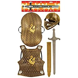 Child's Medieval Knight Armour Set - Helmet, Sword, Shield, Breast Plate Available in Bronze or Silver (accesorio de disfraz)