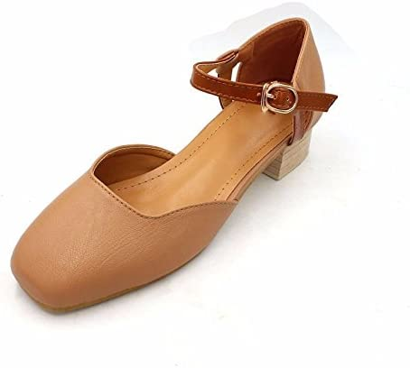 GTVERNH Zapatos de Muelle Huecos con Cabeza Cuadrada de Boca Hueca, Tacón bajo, con Hebilla Cómoda, Tacón Rígido...