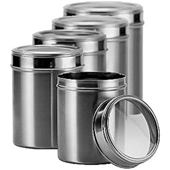 Dynore Stainless Steel Kitchen Storage Canisters (dabba) With See Through  Lid  Set Of