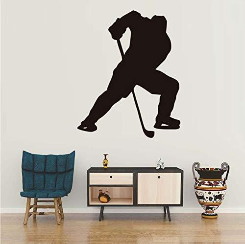 Hwhz 44X55 Cm Ein Mann Spielen Eishockey Sport Wandaufkleber Wohnzimmer Wände Decals Erwachsene Wandaufkleber Für Heimtextilien