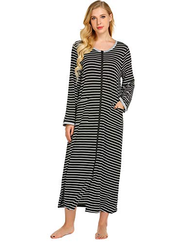Skylin Langer Reißverschluss Nachthemd für Damen, Ganzkörpermantel mit Taschen, gestreift, S-XXL - Schwarz - Small - Reißverschluss Nachthemden Damen Für Mit