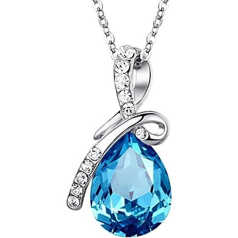 Arco Iris Jewelry - Ciondolo a goccia Amore Eterno, Lacrima in Cristallo austriaco realizzata con cristallo austriaco, Collana con pendente da donna con catena da 45cm