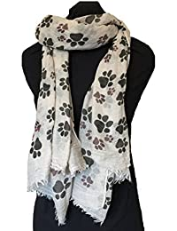 Beige dog paw print long scarf with frayed edge.