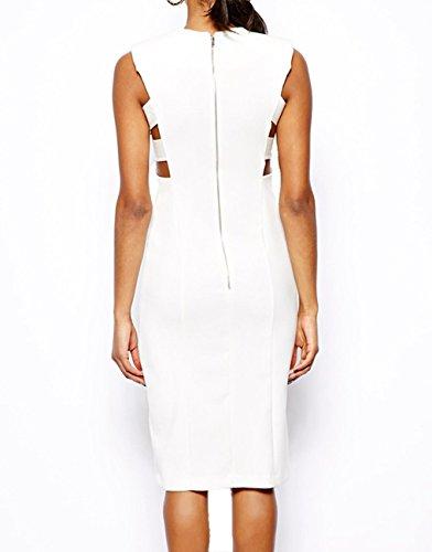 E-Girl double fente sans manches découpe robe Midi intellectuelle,Blanc Blanc