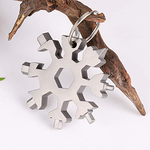 EFINNY 18-in-1 Multitool Edelstahl Multifunktionswerkzeug Schneeflocke Multi-Tool Schlüsselanhänger Flaschenöffner Tragbare Outdoor EDC Werkzeuge (Silber) (Werkzeug Flaschenöffner Schlüsselanhänger)