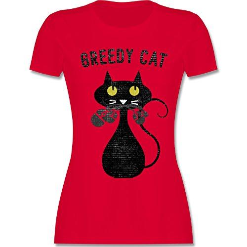 Nerds & Geeks - Greedy Cat - Nerdy Cats - tailliertes Premium T-Shirt mit Rundhalsausschnitt für Damen Rot