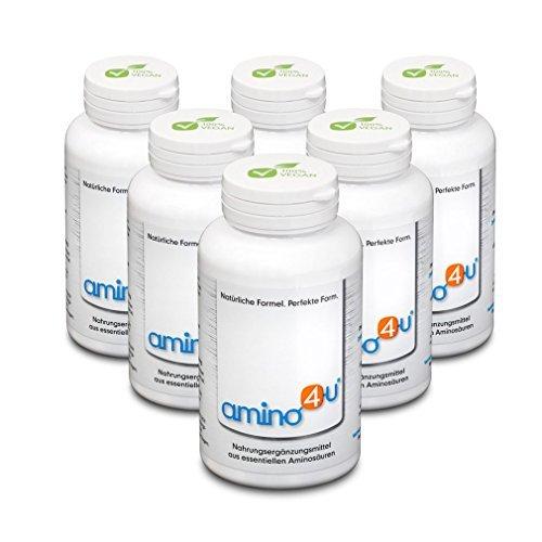 Amino4U Set Sparpaket alle 8 essentiellen Aminosäuren Muskelaufbau 6 x 120g Dose