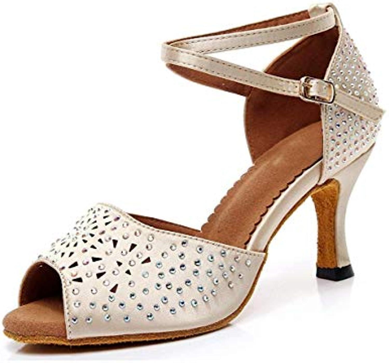 Willsego Ladies Peep Toe Studded Nude Satin Scarpe da Ballo Latino da Ballo Sandali da Sposa UK 6.5 (Coloreee  ... | In Linea  | Sig/Sig Ra Scarpa