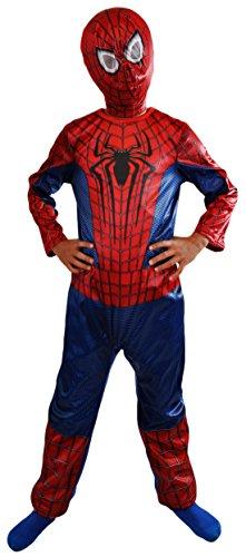 erdbeerloft -Jungen Karneval Komplettkostüm Spiderman Classic Anzug, blau, 6-7 (Anzug Spiderman Kostüme)