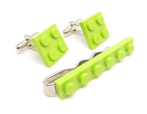 Vert citron véritable plaque de Lego Pince à cravate et boutons de manchette - Funky rétro Cool Boutons de manchette fabriqué par Jeff Jeffers