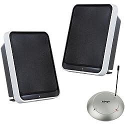 Kit d'enceintes sans fil stéréo VEGA-1380 avec amplification des basses (2 × 3,5 W sinus / 100 W PMPO / portée 100 m / plug & play) pour salons, terrasses, sans fil