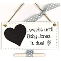 Handmade Chic Shabby Personalised Baby Countdown Wooden Plaque - Perfect Baby Shower/Maternity / Pregnancy Gift