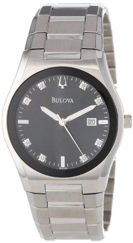 Herren Armbanduhr Bulova 96D104Edelstahl schwarz Zifferblatt mit Diamanten