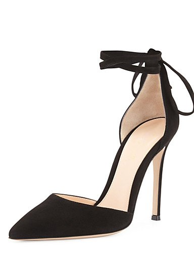 WSS 2016 Chaussures Femme-Mariage / Bureau & Travail / Soirée & Evénement-Noir-Talon Aiguille-Talons-Talons-Similicuir / Tissu black-us7.5 / eu38 / uk5.5 / cn38