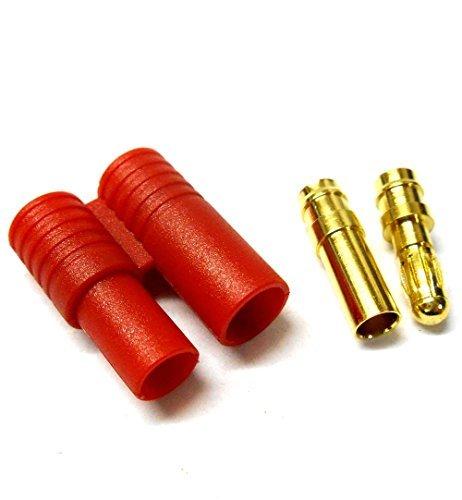 C0113 RC 3.5mm Connecteur Or avec Protecteur Boîtier Rouge x 1 Masculin / Féminin