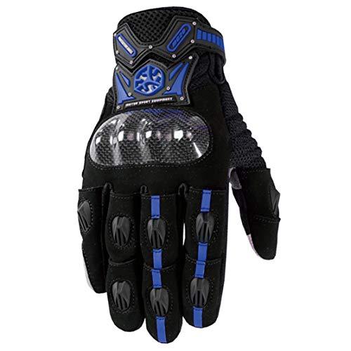 Fibra di Carbonio Guanti da Moto Attrezzatura da Competizione Professionale Guanti a Dito Pieno con Touch Screen,Blue,XXL