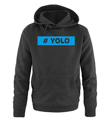 Comedy Shirts - # YOLO - Uomo Hoodie cappuccio sweater - taglia S-XXL vari colori nero / blu