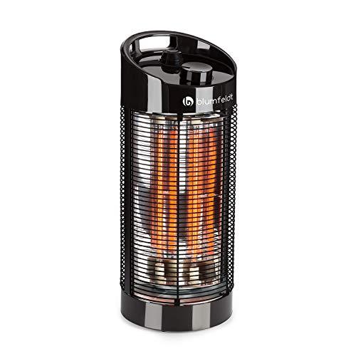 Blumfeldt Heat Guru 360 • Calefactor de pie • Radiador • Estufa de infrarrojos • Potencia de 600 ó 1200 W • Protección IPX4 • Oscilación de 120 a 360 °C • Para interiores o exteriores • 2,9 Kg • Negro