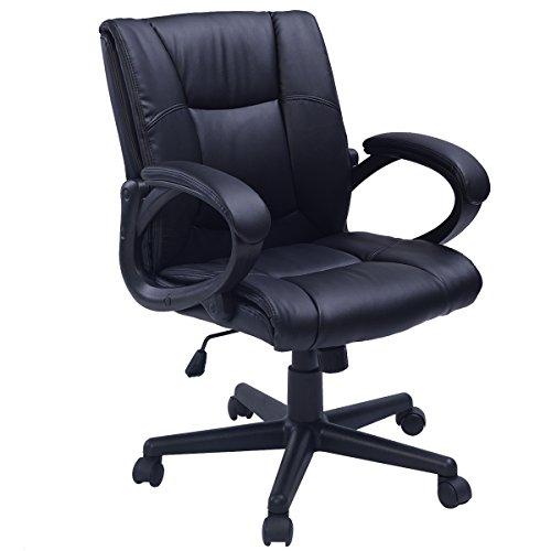 Bürostuhl Chefseesel mit sehr hochwertiger Polsterung Bürodrehstuhl PU Leder ergonomisch hoher Sitzkomfort Stuhl (58 Schwarz)
