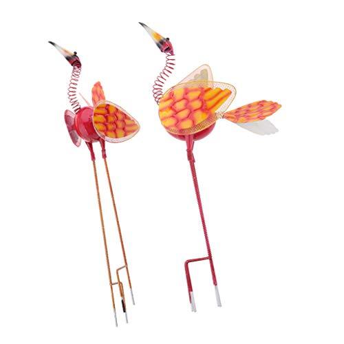 FLAMEER 2pcs Pieu de Jardin d'oiseaux Sculptures Yard Art - Rouge + Rouge