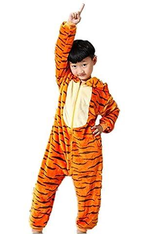 Padgene Pyjama Combinaison Animaux Cosplay Costumes Halloween Enfant Unisexe(Tigrou,taille 115)