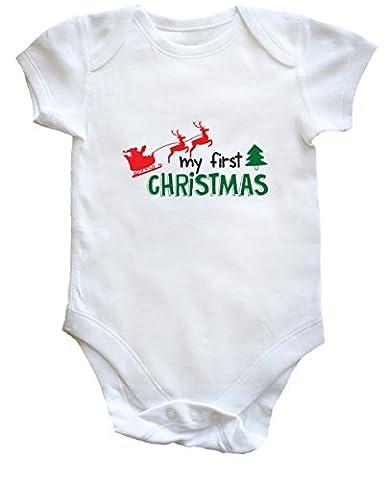 hippowarehouse My First Christmas bébé pour garçons filles - blanc - nouveau-né