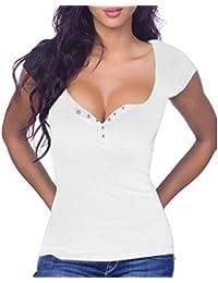xing xiao Camisetas Para Mujer Camisetas Mujer_Botones Con Cuello En V Manga Corta T-Shirts