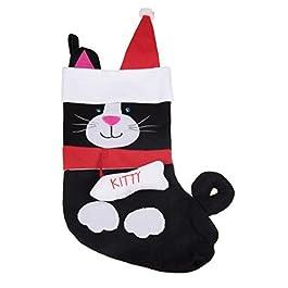 Clever Creations – Calza di Natale a Forma di Gatto – in Morbido Tessuto e Ideale per Bambini, Ragazzi e Adulti – per Piccoli Regali e dolcetti