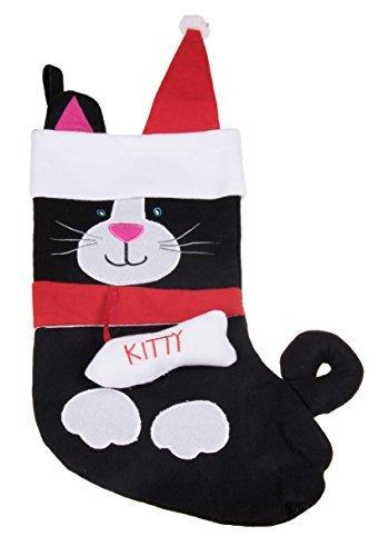 Morbido peluche panno appeso calza di natale | per bambini, ragazzi, adulti | nero e bianco kitty cat holiday decor theme | ideale per piccoli regali, calza della befana, & candy | misure, altezza 43,2cm.