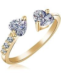 YAZILIND chapado en oro exquisito corte de zirconia cubicos chispeantes ajustable anillo de extremo abierto para las mujeres