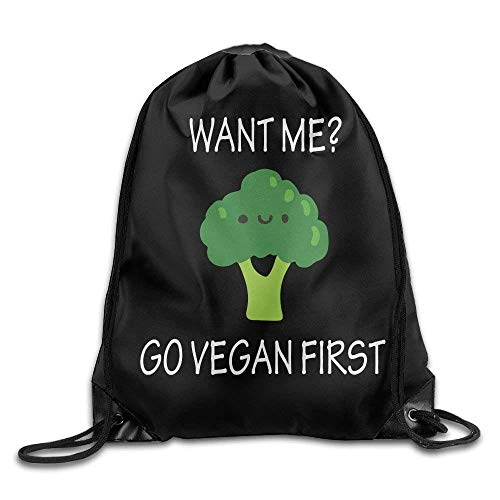 ZHIZIQIU Want Me Go Vegan First Drawstring Backpack Bag Beam Mouth Gym Sack Shoulder Bags for Men and Women