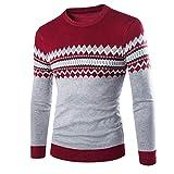 WAOSHANES Pullover Frauen Gedruckt Patchwork Lange Winter Herbst Lässige Hülse Männlichen Pollover Pullover Masc Red2 S