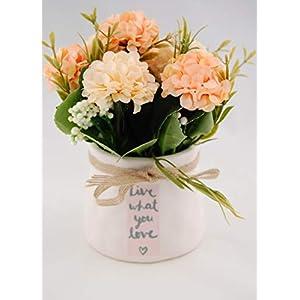 Homevibes Flores Artificiales con Maceta De Ceramica con Frase, Hortensias, Medida 9x17cm, Ideal para Decoracion del Hogar Interior o Exterior (Blanco y Hortensias Rosas y Blanco)
