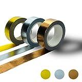 Washi Tape Set Deko Klebeband - Ideal zum Basteln und Designen - starker Halt - Gold Silber Kupfer - 3 Rolls | Masking Washitape