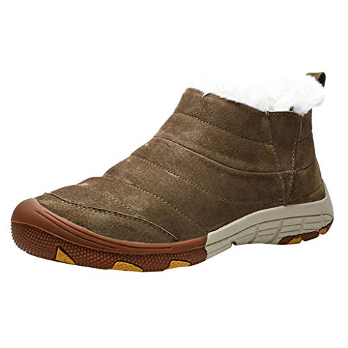 Stiefeletten Herren Casual Plus Velvet Warme Baumwollstiefel Wasserdicht Komfortable Schneeschuhe (41 EU,Khaki)