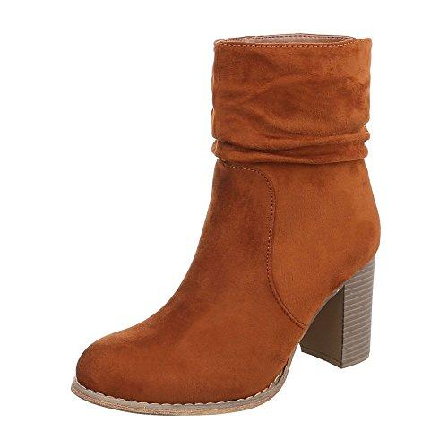 Zurück Soldat Winter Kostüm - Ital-Design High Heel Stiefeletten Damen-Schuhe Schlupfstiefel Pump Moderne Reißverschluss Stiefeletten Camel, Gr 40, Zy9086-