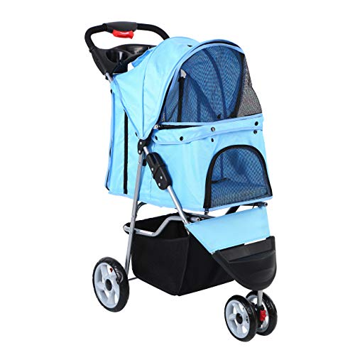 Paneltech Hundewagen Hundebuggy Hunde Buggy Pet Stroller mit Becherhalter&Einkaufstasche Pet Buggy zum Transport von Hunden/Vierbeinern (Blau) -