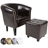 Chesterfield sillón con Taburete de Color marrón, Capacidad de Carga máx. 100 kg, de Cuero Artificial, Adecuado como Asiento o reposapiés, Mueble de salón con Relleno de Material espumoso