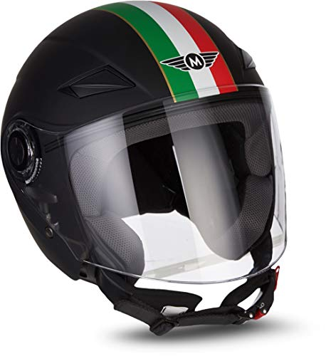 MOTO HELMETS® U52 - Casco semi-integrale per scooter, modello Chopper Retro Cruiser, stile vintage, con visiera a chiusura rapida, taglia XS-XL (53-62 cm), colore: nero opaco