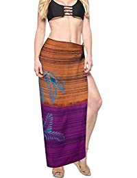 878901e5a6f LA LEELA Women's Plus Size Beachwear Swim Bikini Cover up Wrap Skirt Pareo  Swimsuit Dress Sarong