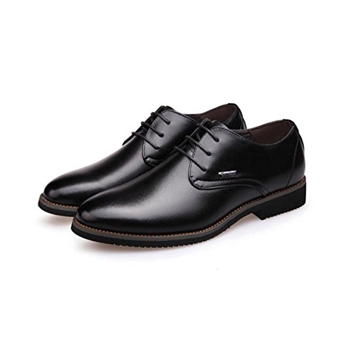 GRRONG Herren Leder Schuhe Business Formal Dress Echtes Leder Spitz Schwarz Braun Black