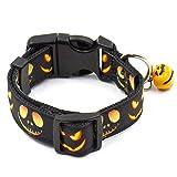 PoeHXtyy Verstellbares Hundehalsband mit Glöckchen für Hunde und Katzen, Halloween, Party, Ghost Kürbis-Fledermaus-Muster