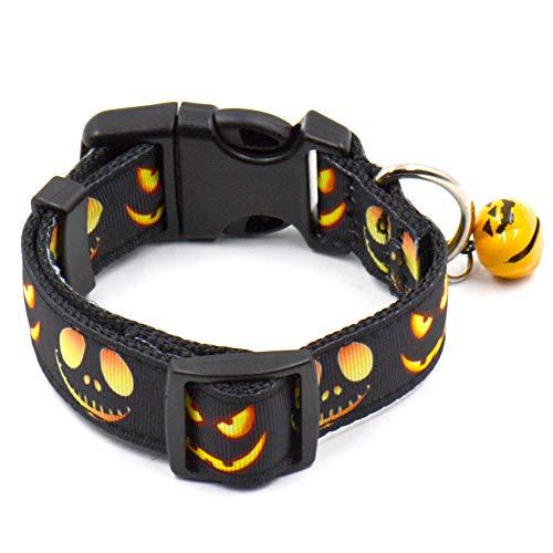 MNEFEL Collier verstellbar Pour animaux de compagnie Avec Cloche Pour Chien Chat Halloween Party Modèle de chauve-Souris fantôme, Pumpkin Lantern, S