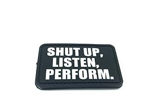 Shut Up Écouter Perform PVC Airsoft Patch Noir