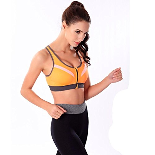 Soutien-gorge de sport,Tonwalk Yoga Fitness Sans fil Rembourré Anti choc Orange