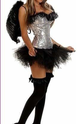 Black Dark Silver Fallen Angel Xmas fancy dress corset tutu & feather wings