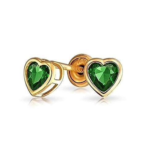 Bling Jewelry 14K CZ Émeraude simulé Bébé coeur Retour vis Stud Earrings