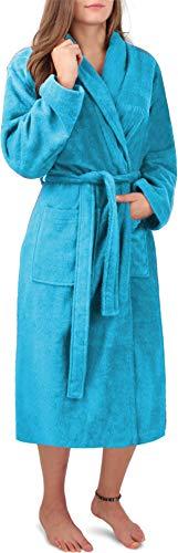 Circle Five Damen Bademantel, Sauna-Mantel, Morgenmatel aus 100% Baumwolle Oeko-Tex 100 [Gr. XS-4XL] Farbe Türkis Größe L